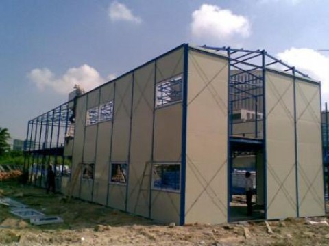 Installation of double storey knock down office